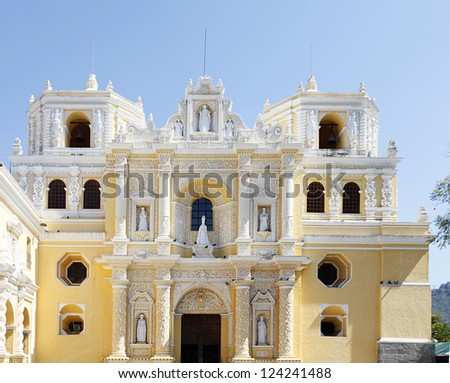 La Merced, Church in Antigua, Guatemala - stock photo