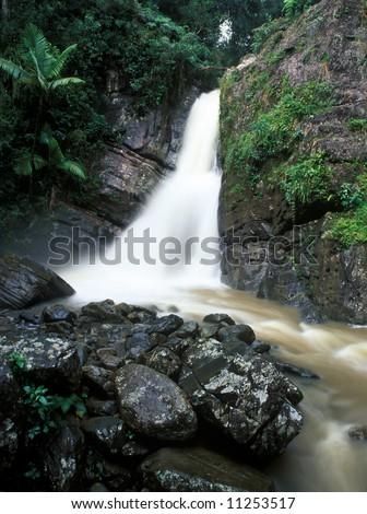 La Mina waterfall in El Yunque National Park Puerto Rico in rain-time - stock photo