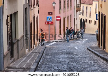LA OROTAVA, SPAIN - NOVEMBER 1, 2012: People visit Old Town of La Orotava in Tenerife, Spain. In 2013 Canary Islands were visited by 7.5 million foreign tourists, 2.8 million visited Tenerife.