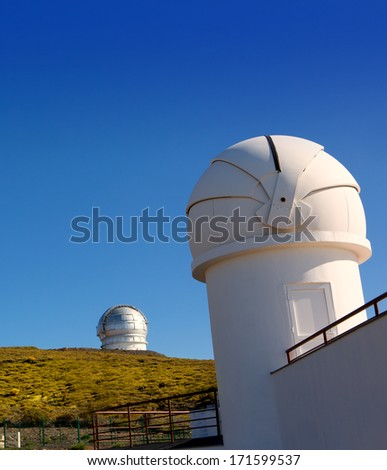 LA PALMA, CANARY ISLANDS, SPAIN - JULY 12, 2012:ORM observatory IAC institute at Roque de los Muchachos with GTC in background in La Palma, Canary, Spain, July 12, 2012.