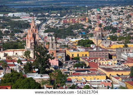 La Parroquia (Church of St. Michael the Archangel) and the Templ - stock photo