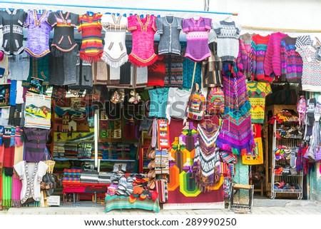 LA PAZ, BOLIVIA - AUGUST 13: Souvenirs for sale in La Paz, Bolivia seen on August 13, 2014 - stock photo