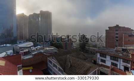 La paz, Bolivia - Circa March 2015 - Fog in La paz - stock photo