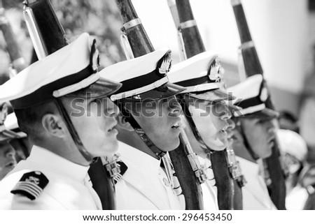 LA PAZ, BOLIVIA Circa March 2015: selective focus shot of soldiers at a parade in la paz - stock photo