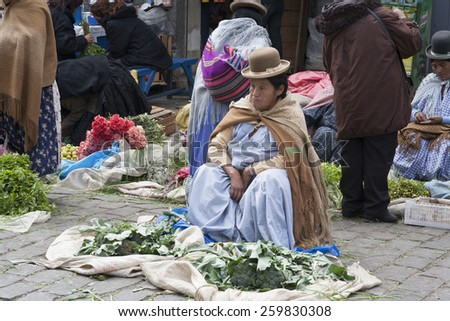 LA PAZ, BOLIVIA - JANUARY 11, 2009: La Paz - Bolivian woman sells vegetables  on the street market in La Paz. Street market is one of the attractions of the city.