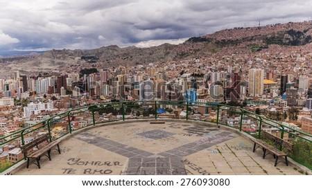 LA PAZ, BOLIVIA March 23, 2015: La Paz from Kili Kili Viewpoint - stock photo
