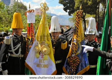 La Paz, Bolivia - 23 March 2013: Rows of soldiers with typical Bolivian high hats march in a military parade for dia del mar in La Paz capitol Bolivia. Die del Mar is celebrated annualy on the day - stock photo