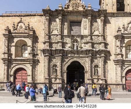 LA PAZ, BOLIVIA, NOV 4, 2015: Local people gather in front of Basilica of San Francisco - stock photo