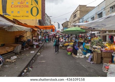 La Paz, Bolivia - October 24, 2015: People selling and buying on the street market