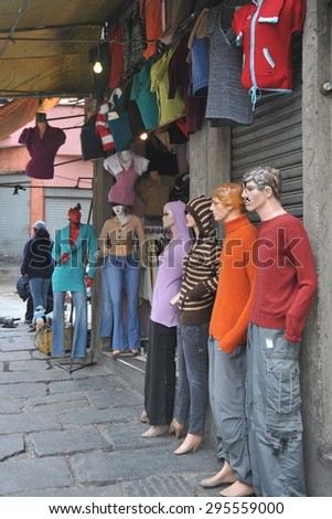 LA PAZ, BOLIVIA - SEPTEMBER 5, 2010: Mannequins on the streets of La Paz. The actual capital of Bolivia, where most of the state institutions and the residence of the President of the country. - stock photo