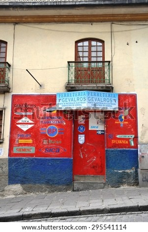 LA PAZ, BOLIVIA - SEPTEMBER 5, 2010: On the streets of La Paz. The actual capital of Bolivia, where most of the state institutions and the residence of the President of the country. - stock photo