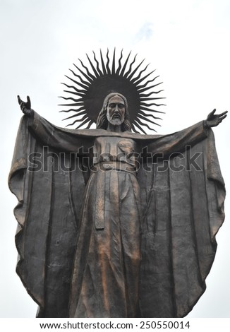 LA PAZ, BOLIVIA - SEPTEMBER 5, 2010: Statue of Jesus in the city of La Paz. La Paz the actual capital of Bolivia, although the constitutional capital is Sucre. - stock photo