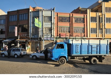 LA PAZ, BOLIVIA - SEPTEMBER 4, 2010:The actual capital of Bolivia, where most of the state institutions, although the constitutional capital is Sucre. The outskirts of the city of La Paz. - stock photo