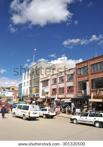 LA PAZ, BOLIVIA - SEPTEMBER 3, 2010:The actual capital of Bolivia, where most of the state institutions, although the constitutional capital is Sucre. The outskirts of the city of La Paz. - stock photo