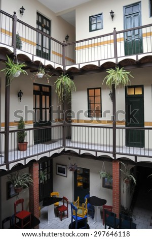 LA PAZ, BOLIVIA - SEPTEMBER 5, 2010: The interior of the hotel in La Paz. The actual capital of Bolivia, where most of the state institutions and the residence of the President of the country. - stock photo