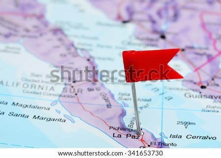 La Paz pinned on a map of Mexico  - stock photo