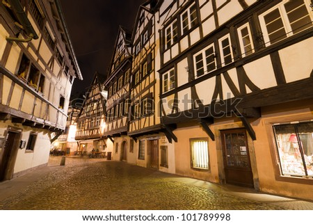 La Petite France district at night, Strasbourg, Alsace, France - stock photo