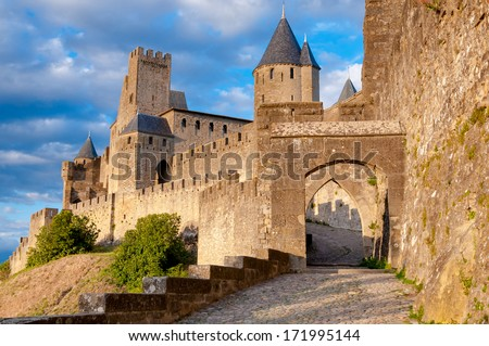 La Porte De Aude at late afternoon in Carcassonne - France - stock photo