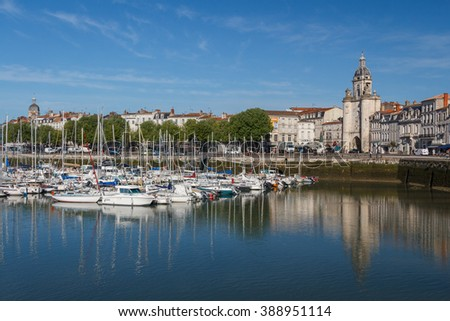 LA ROCHELLE / FRANCE - MAY 2013: Boats parked in the harbor in the historic part of La Rochelle, France