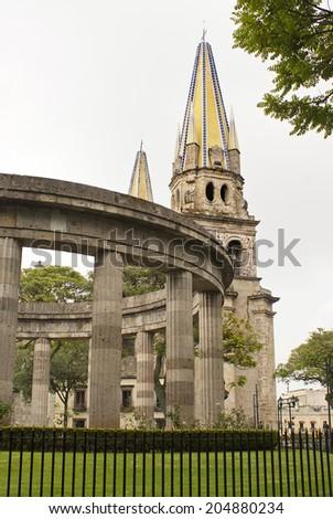La Rotonda de los Jalisciences Ilustres and the Guadalajara cathedral, Monuments of Guadalajara, Jalisco, Mexico - stock photo