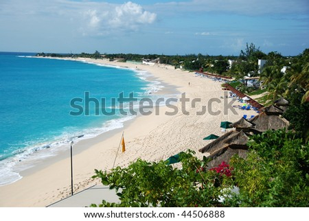 La Samanna tropical beach on St Martin - stock photo