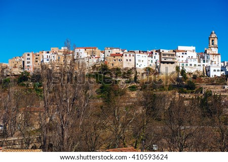 La Senia skyline, typical Catalan town. Province of Tarragona. Spain - stock photo