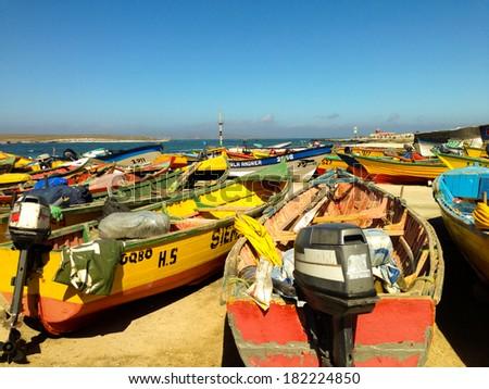 LA SERENA, CHILE - NOVEMBER 02: Boats near the Nature and wildlife sanctuary  in Isla Damas on November 02, 2013, Punta de Choros, La Serena, Chile - stock photo