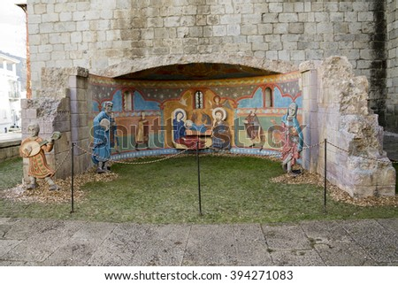 LA SEU D'URGELL, LLEIDA / CATALONIA, SPAIN - DECEMBER 14, 2015: A Nativity scene next to the cathedral of La Seu d'Urgell