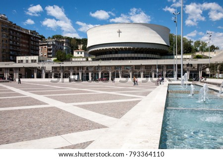 La Spezia, Italy - 2017, April 29 : The modern cathedral of the town of La Spezia in Liguria, built between 1956 and 1975