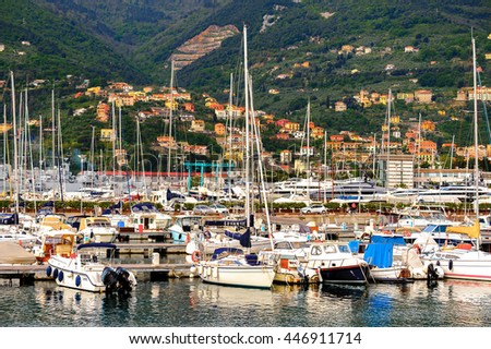 LA SPEZIA, ITALY -MAY 5, 2016: Yachts and boats at the port of La Spezia. La Spezia is the capital city of the province of La Spezia.