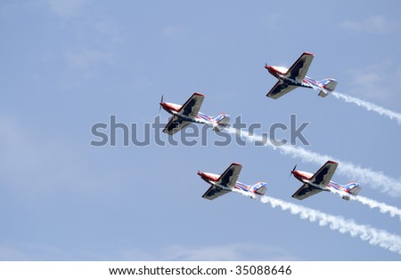 LA SPEZIA, LIGURIA, ITALY - JULY 27: Italian flying team Alpi Aviation in action during an exhibition July 27, 2008 in the Gulf of La Spezia in Liguria, Italy.