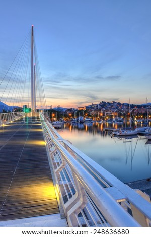 La Spezia port, near Cinque Terre, in Italy, surprised at sunset. - stock photo