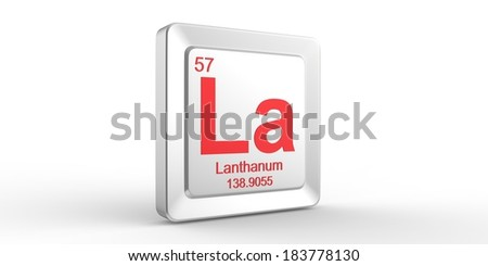 La symbol 57 material for Lanthanum chemical element of the periodic table - stock photo