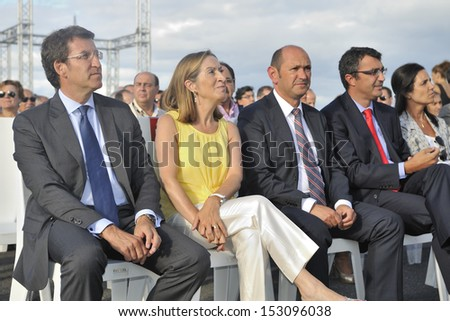 LA TOJA ISLAND, PONTEVEDRA, SPAIN - AUGUST 23 - official presentation of the Tour of Spain 2013 (La Vuelta). Leading authorities, president of Galicia, Minister, Provincial President. 08-23-2013