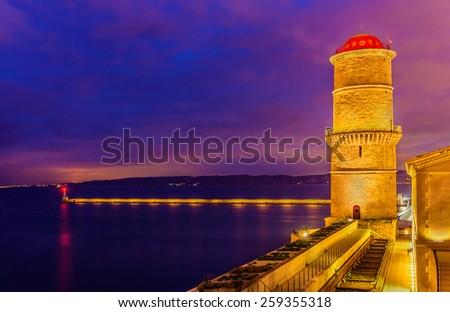 La tour du fanal and Digue Sainte Marie in Marseille - France - stock photo