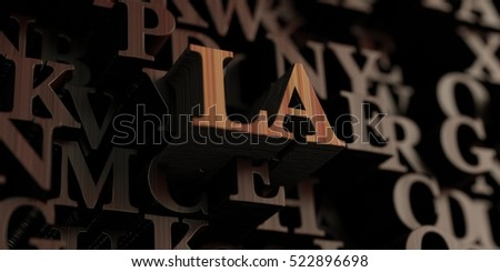 La - Wooden 3D rendered letters/message.  Can be used for an online banner ad or a print postcard.