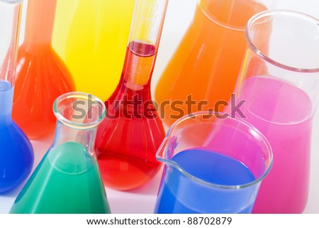 Lab glass flask with color liquid