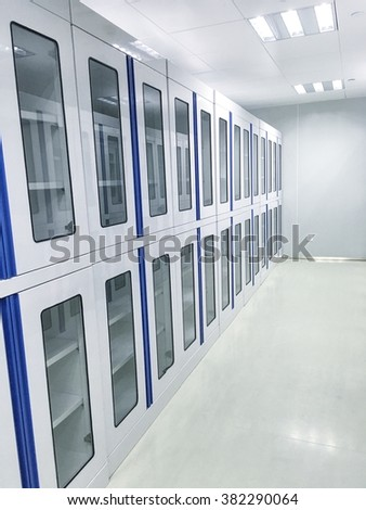Lab interior with many cabinets