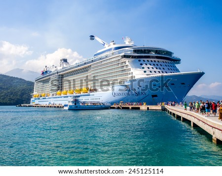 Labadee Haiti - 7 jan 2015  : Royal Caribbean's quantum of the Seas, docked in Pt. labadee in Haiti . It's the Royal  newest passenger ship. - stock photo