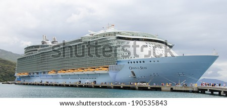 Labadee, Haiti, -�� May 4, 2011: Royal Caribbean, Oasis of the Seas docked in Labadee, Haiti on May 4 2011. The second largest passenger ship ever constructed behind sister ship Allure of the Seas.