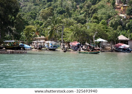 LABADEE, HAITI - SEPTEMBER 27, 2015: Typical Homes of the local residents of Labadee, Haiti. September 27, 2015 - stock photo