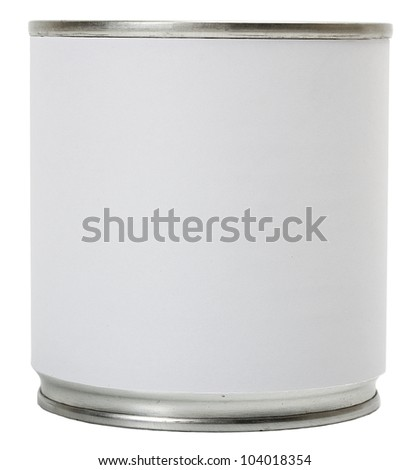 Label blank in Tin can isolated on white background - stock photo