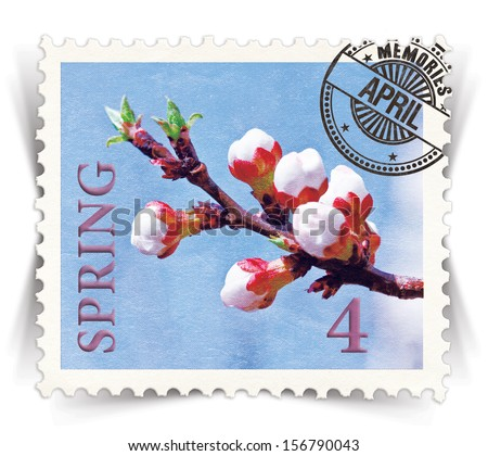 Label for seasonal products ads or calendars stylized as vintage post stamp (April - 4 of 12 set)