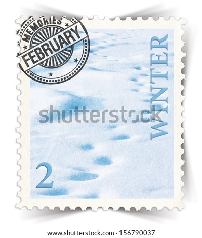 Label for seasonal products ads or calendars stylized as vintage post stamp (February - 2 of 12 set)