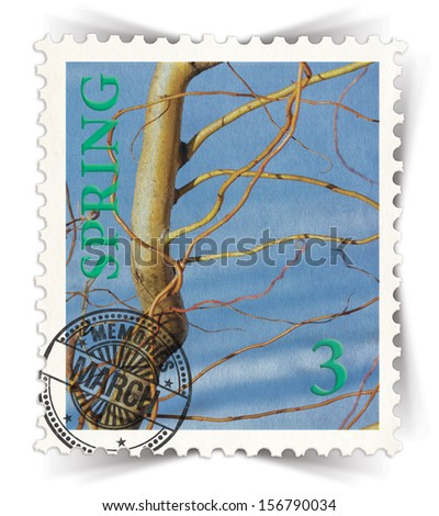 Label for seasonal products ads or calendars stylized as vintage post stamp (March - 3 of 12 set)  - stock photo