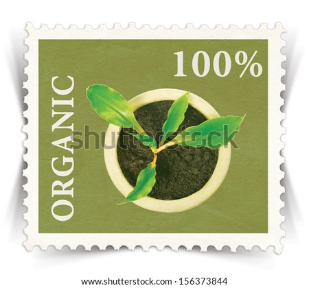 Label for various organic products advertisements stylized as vintage post stamp - landscape view  - stock photo