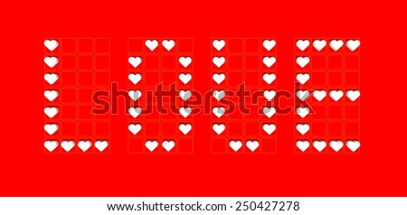 "label of ""love"" background with red hearts"