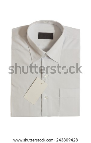 Label of new's men shirt isolated on white background - stock photo