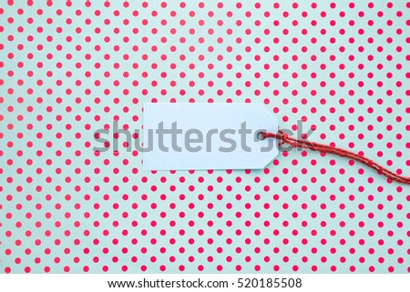 Label On polka dots background with place for text.