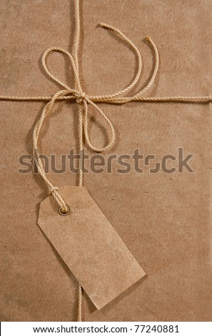 Label on the old carton premise - stock photo